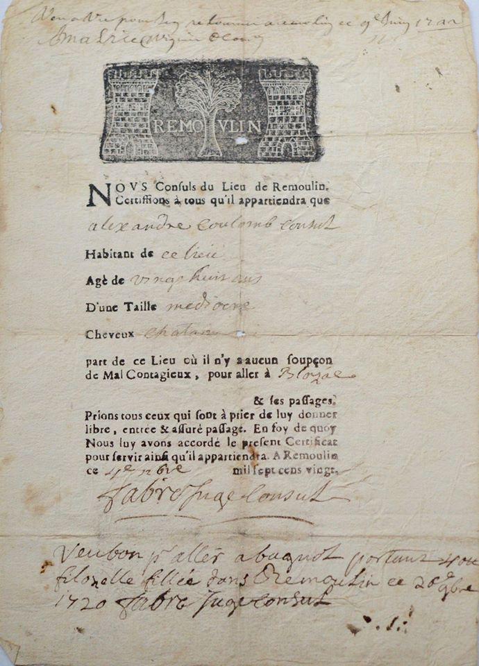 Pergament - declarație pe proprie răspundere din vremea ciumei